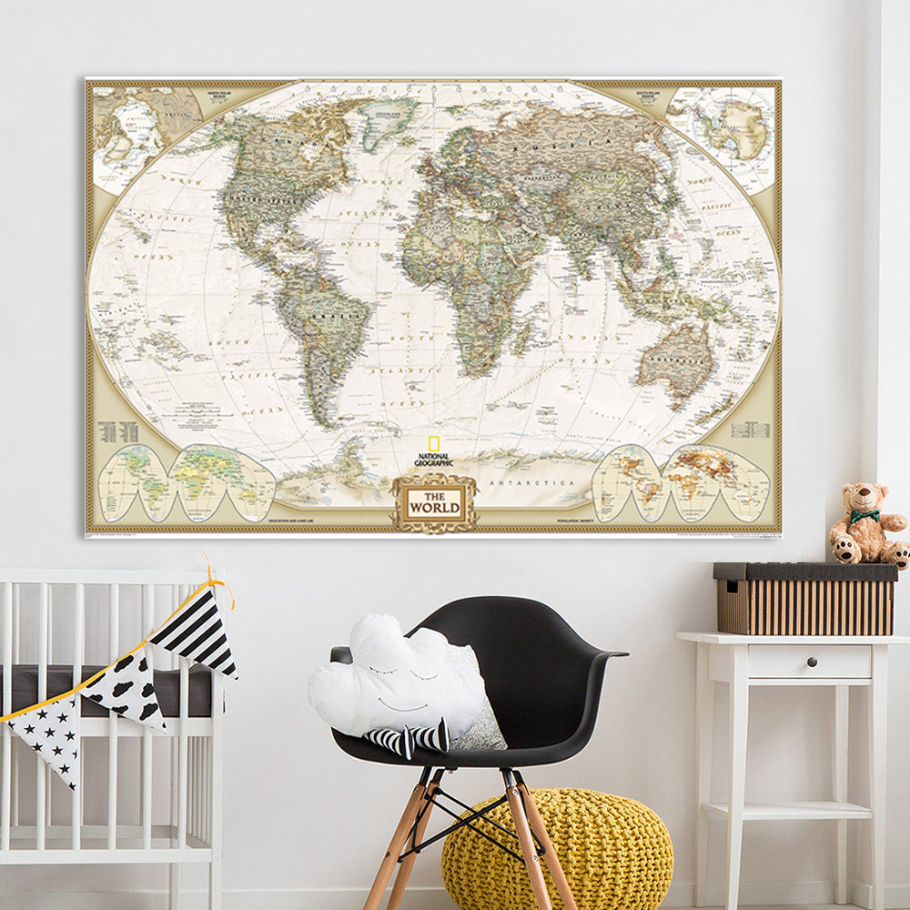 affiche carte du monde peinture huile grand format les cartes du monde. Black Bedroom Furniture Sets. Home Design Ideas